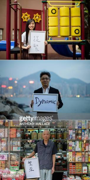 In this combination of photos taken in Hong Kong on May 9 May 10 2017 and May 10 20 year old student Chau Hooi who works with prodemocracy party...
