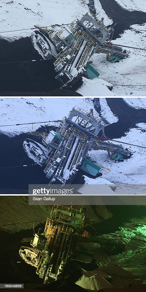 In this combination of three seperate photos taken over a three-hour period, workers attempt to set a 950-tonne bucket excavator upright following an accident at an open-pit coal mine on January 25, 2013 near Deutzen, Germany. The bucket excavator tipped over last summer after plateaus of earth and sand nearby gave way, pushing a layer of coal underneath. The excavator had been lying severaly tilted to one side ever since at the Vereinigtes Schleenhain mine, which is operated by Mibrag. Open-pit lignite coal mines are still common across eastern Germany and produce coal for local electricity production.