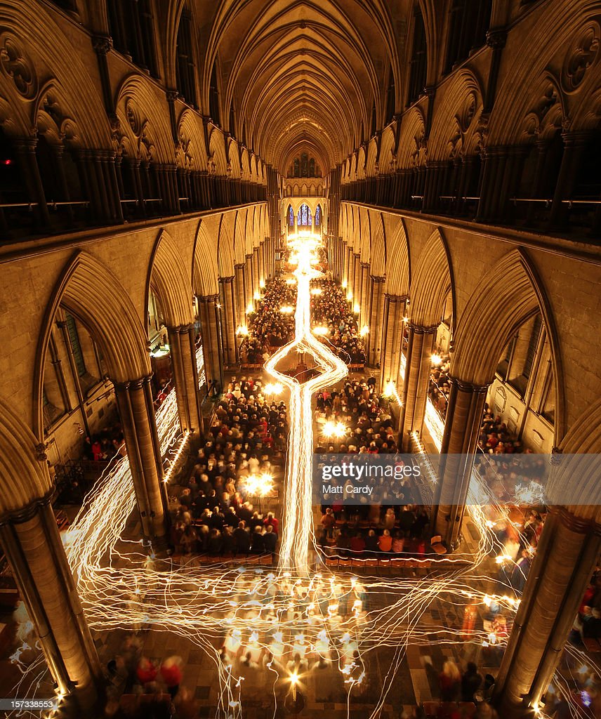 In this combination of two images the interior of Salisbury Cathedral is illuminated by trails of candles carried by choristers during the annual 'darkness to light' advent procession on December 1, 2012 in Salisbury, England. The service - which begins with the medieval cathedral in total darkness and silence before the Advent Candle is lit at the West End - is one of the most popular services of the liturgical year. The annual advent service, which takes place over three nights and is seen by several thousand people, is a mix of music and readings during which two great candlelit processions move around the different spaces in the 750-year-old building which, by the end, is illuminated by almost 1300 candles and is a spectacular start to the Christmas season.