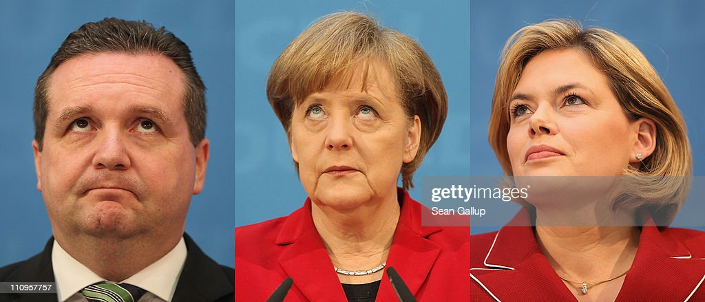In this combination photo montage (from L to R) Christian Democratic (CDU) governor of Baden-Wuerttemberg Stefan Mappus, German Chancellor and leader of the CDU <a gi-track='captionPersonalityLinkClicked' href=/galleries/search?phrase=Angela+Merkel&family=editorial&specificpeople=202161 ng-click='$event.stopPropagation()'>Angela Merkel</a> and CDU candidate in Rhineland-Palatinate <a gi-track='captionPersonalityLinkClicked' href=/galleries/search?phrase=Julia+Kloeckner&family=editorial&specificpeople=6902085 ng-click='$event.stopPropagation()'>Julia Kloeckner</a> speak to the media the day after elections in Baden-Wuerttemberg and Rhineland-Palatinate on March 28, 2011 in Berlin, Germany. The CDU faired poorly in both elections and will likely lose its 57-year hold on power in Baden-Wuerttemberg.