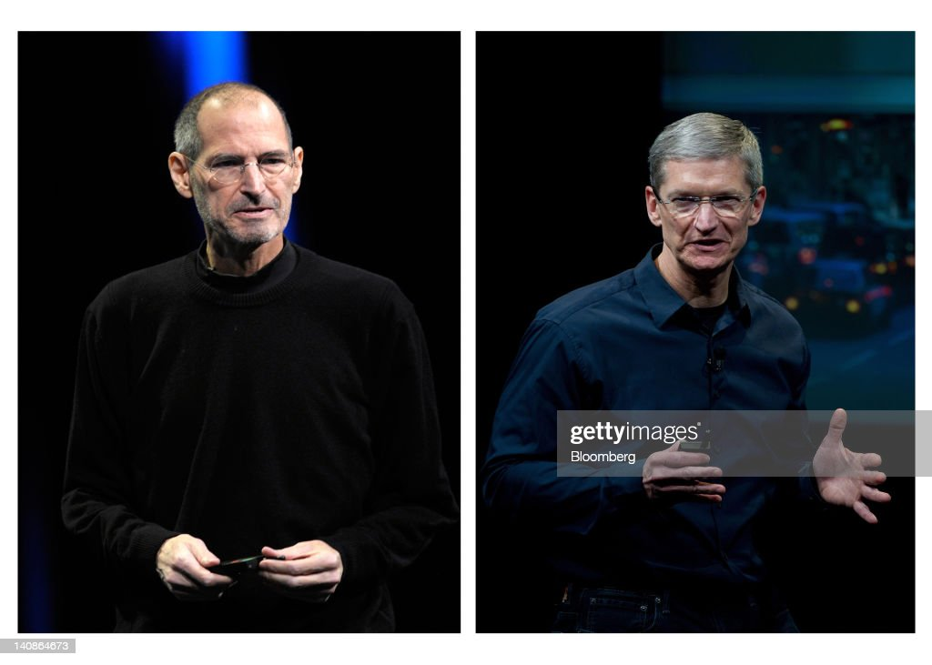 In this combination photo, Steve Jobs, former chief executive officer of Apple Inc., left, unveils the iCloud storage system at the Apple Worldwide Developers Conference 2011 in San Francisco, California, U.S., on Monday, June 6, 2011, while Tim Cook, chief executive officer of Apple Inc., right, speaks during an event at the company's headquarters in Cupertino, California, U.S., on Tuesday, Oct. 4, 2011. Apple Inc. introduced a new version of the iPad, beefing up its two-year-old mobile computer with a sharper screen to widen its lead over Amazon.com Inc., Microsoft Corp. and Google Inc. in the tablet market. Photographer: David Paul Morris/Bloomberg via Getty Images