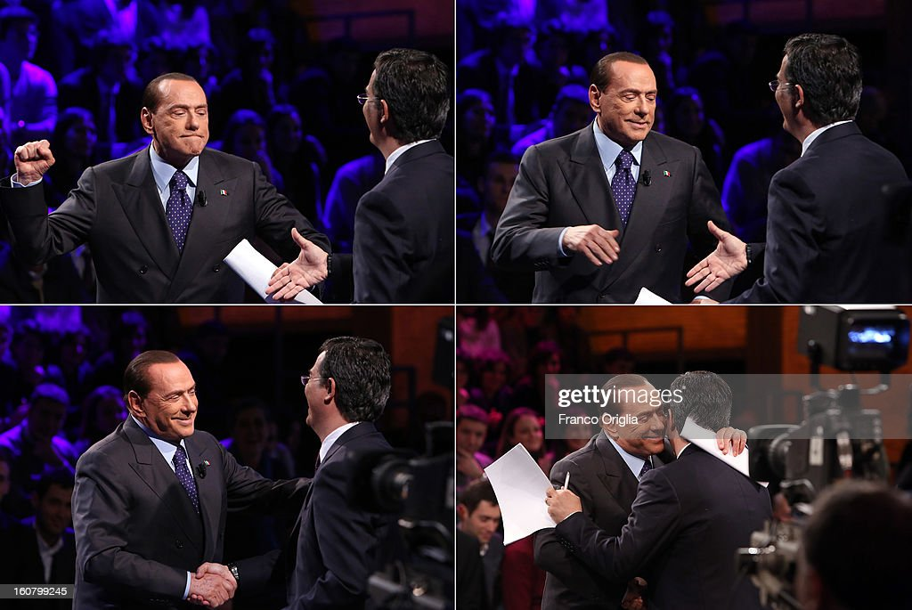In this combo of pictures, former Italian Prime Minister Silvio Berlusconi (L) jokes with Tv conductor Giovanni Floris (R) at the end of the interview at 'Ballaro' Italian TV talk show on February 5, 2013 in Rome, Italy. Silvio Berlusconi has announced on Sunday that if the PDL party (People of the Liberty) win the elections scheduled for February 24, they will return the tax to families introduced by the government of Mario Monti.