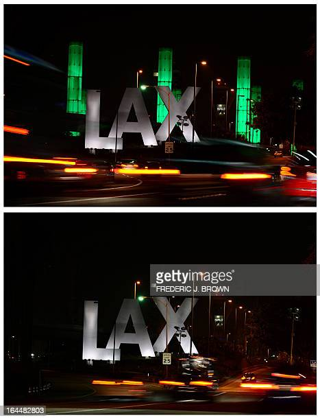 In this combo photo shows the 100foot LAX Gateway pylons at Los Angeles International Airport are lit green for an hour on March 23 2013 in Los...