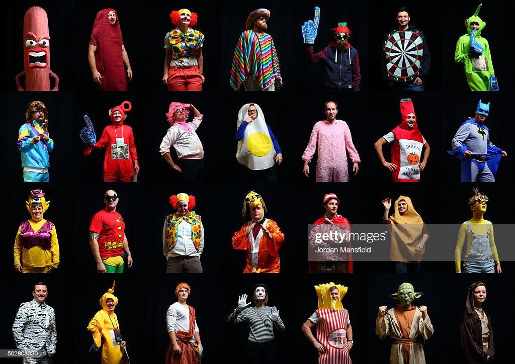 In this composite 24 images of darts fans wear a fancy dress while attending Day Eleven of the 2016 William Hill PDC World Darts Championships at...