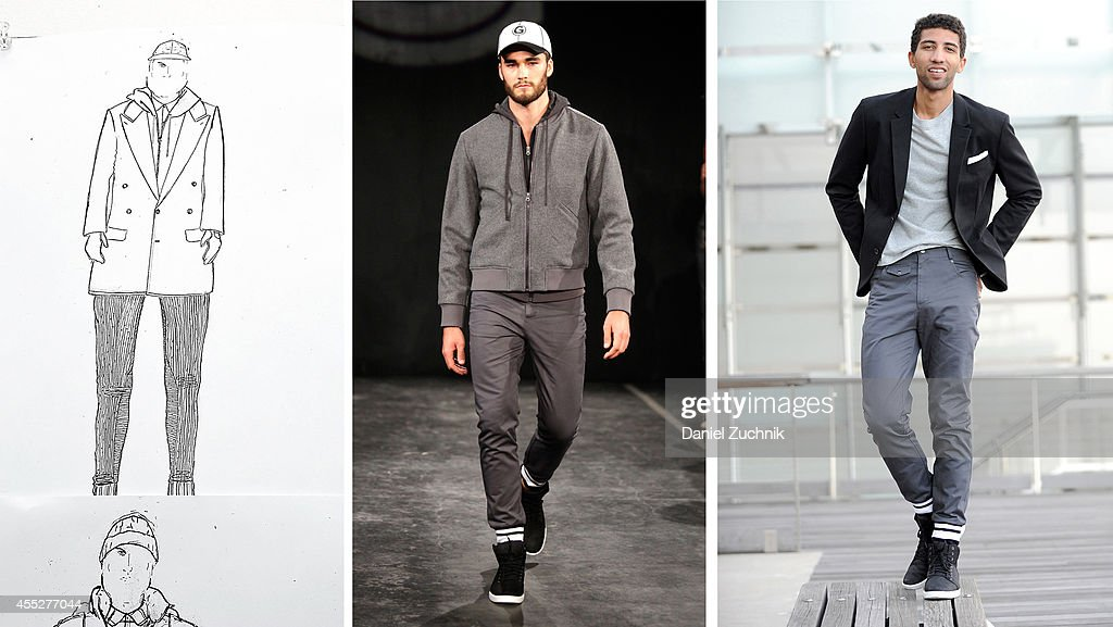 In this composite image a comparison has been made between a piece from the Grungy Gentleman Spring 2015 collection in production in the design studio, to the runway, and worn by an actor in his own personal style. (EXCLUSIVE ACCESS, SPECIAL RATES APPLY) Rafael Valentino, actor and chess player, is seen wearing Grungy Gentleman pants with cuffed hems and a gray long-sleeve t-shirt with his own Armani Exchange blazer, RETROSUPERFUTURE sunglasses and Timberland shoes in lower Manhattan on September 10, 2014 in New York City during Mercedes-Benz Fashion Week Spring 2015.