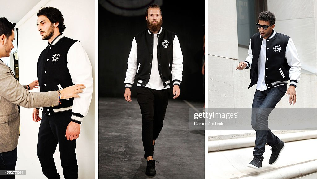 In this composite image a comparison has been made between a piece from the Grungy Gentleman Spring 2015 collection in production in the design studio, to the runway, and worn by an actor in his own personal style. (EXCLUSIVE ACCESS, SPECIAL RATES APPLY) Rafael Valentino, actor and chess player, is seen wearing a Grungy Gentleman x Mitchell & Ness varsity jacket over a Grungy Gentleman Elevated Basics quilted t-shirt along with his own Armani Exchange jeans, Italia Independent sunglasses and Timberland shoes on Wall Street on September 10, 2014 in New York City during Mercedes-Benz Fashion Week Spring 2015.