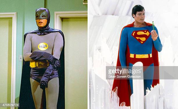 In this composite image a comparison has been made between Adam West as Batman and Christopher Reeve as Superman Superman played by American actor...