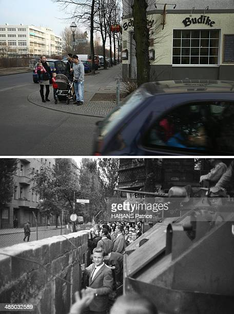 In this composite image a comparison has been made between Berlin in the 1960s and Berlin now in 2014 The Berlin Wall Le mur de Berlin fin août 1961...