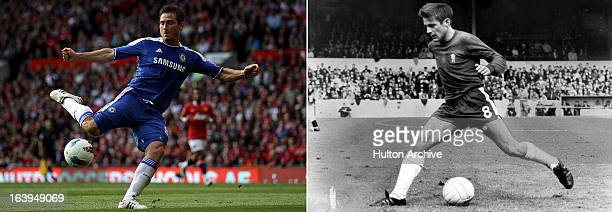 In this composite image a comparison has been made between current Chelsea player Frank Lampard and former Chelsea player Bobby Tambling Original...