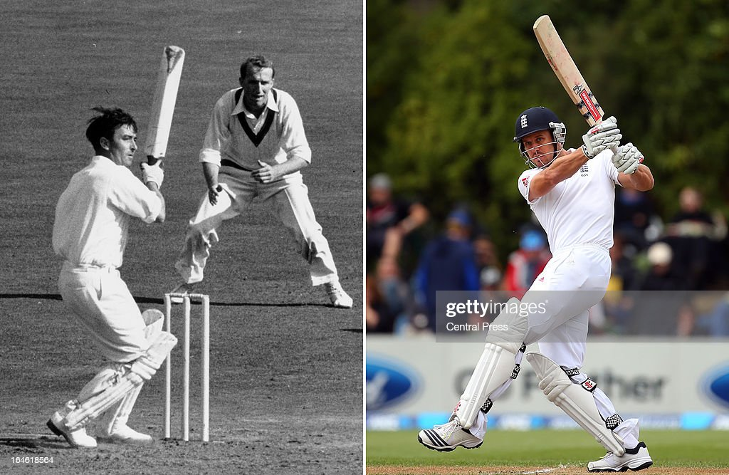 In this composite image a comparison has been made between Denis Compton (L) and his grandson Nick Compton. Original image IDs are 163374560 (right) and 2666951.