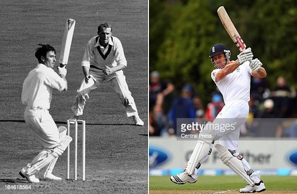 In this composite image a comparison has been made between Denis Compton and his grandson Nick Compton Original image IDs are 163374560 and 2666951...
