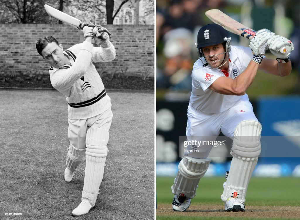 In this composite image a comparison has been made between <a gi-track='captionPersonalityLinkClicked' href=/galleries/search?phrase=Denis+Compton&family=editorial&specificpeople=211549 ng-click='$event.stopPropagation()'>Denis Compton</a> (L) and his grandson <a gi-track='captionPersonalityLinkClicked' href=/galleries/search?phrase=Nick+Compton&family=editorial&specificpeople=654760 ng-click='$event.stopPropagation()'>Nick Compton</a>. Original image IDs are 163419759 (right) and 3162288. 26th September 1952: British footballer and cricketing champion <a gi-track='captionPersonalityLinkClicked' href=/galleries/search?phrase=Denis+Compton&family=editorial&specificpeople=211549 ng-click='$event.stopPropagation()'>Denis Compton</a> (1918 - 1997) demonstrates his winning moves.