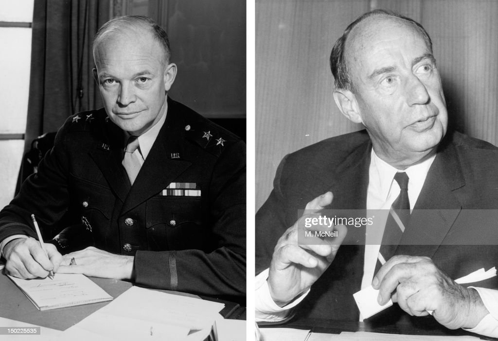 In this composite image a comparison has been made between former US Presidential Candidates Dwight Eisenhower (L) and Adlai Stevenson. In 1952 Dwight Eisenhower won the presidential election to become the President of the United States. 1964: American Democrat politician Adlai Stevenson (1900 - 1965), leader of the United States delegation to the United Nations, speaks at a press conference at the American Embassy on May 19, 1964 after having arrived from Stockholm on an unofficial visit to London.