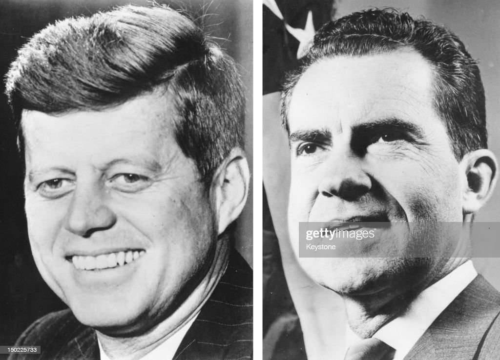 In this composite image a comparison has been made between former US Presidential Candidates John F Kennedy (L) and Richard Nixon. In 1960 John F Kennedy won the presidential election to become the President of the United States. 1960: American politician Richard Nixon looks up on July 19, 1969.