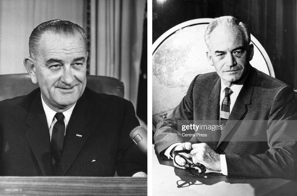 In this composite image a comparison has been made between former US Presidential Candidates Lyndon Baines Johnson (L) and Barry Goldwater. In 1964 Lyndon B Johnson won the presidential election to become the President of the United States. circa 1960: American politician Barry Goldwater, A conservative Republican, looks on in 1960.