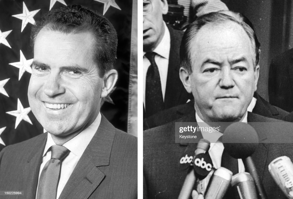 In this composite image a comparison has been made between former US Presidential Candidates Richard Nixon (L) and Hubert Humphrey. In 1968 Richard Nixon won the presidential election to become the President of the United States. 1970: American Democratic politician Hubert Humphrey (1911 - 1978) talks to the press in 1970.