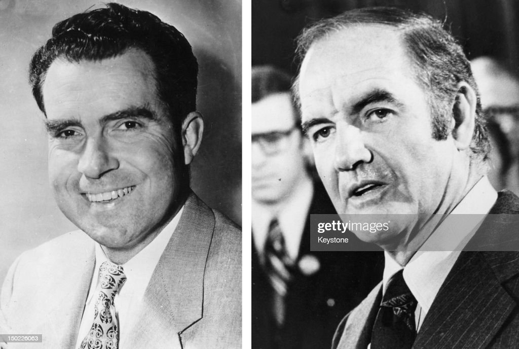 In this composite image a comparison has been made between former US Presidential Candidates <a gi-track='captionPersonalityLinkClicked' href=/galleries/search?phrase=Richard+Nixon&family=editorial&specificpeople=92456 ng-click='$event.stopPropagation()'>Richard Nixon</a> (L) and <a gi-track='captionPersonalityLinkClicked' href=/galleries/search?phrase=George+McGovern&family=editorial&specificpeople=216554 ng-click='$event.stopPropagation()'>George McGovern</a>. In 1972 <a gi-track='captionPersonalityLinkClicked' href=/galleries/search?phrase=Richard+Nixon&family=editorial&specificpeople=92456 ng-click='$event.stopPropagation()'>Richard Nixon</a> won the presidential election to become the President of the United States for a second term. 1972: American Democratic politician and candidate for the 1972 presidential elections, Senator <a gi-track='captionPersonalityLinkClicked' href=/galleries/search?phrase=George+McGovern&family=editorial&specificpeople=216554 ng-click='$event.stopPropagation()'>George McGovern</a> looks on in 1972.