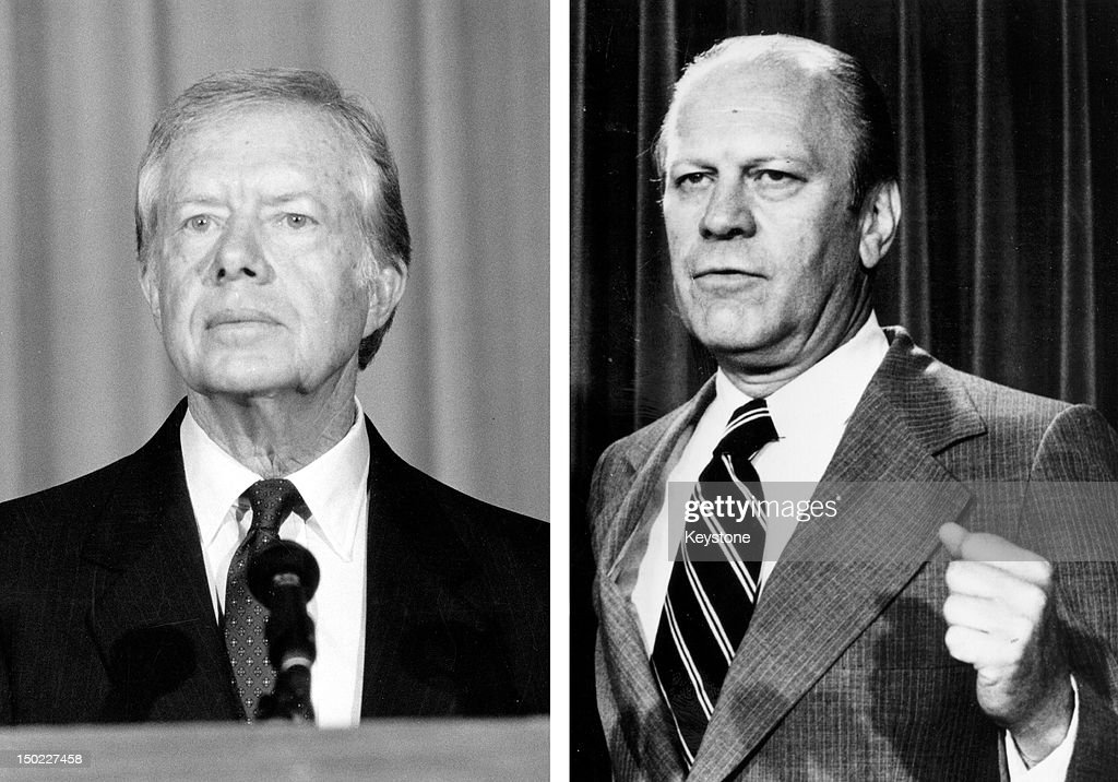In this composite image a comparison has been made between former US Presidential Candidates <a gi-track='captionPersonalityLinkClicked' href=/galleries/search?phrase=Jimmy+Carter+-+Pr%C3%A4sident&family=editorial&specificpeople=93589 ng-click='$event.stopPropagation()'>Jimmy Carter</a> (L) and <a gi-track='captionPersonalityLinkClicked' href=/galleries/search?phrase=Gerald+Ford&family=editorial&specificpeople=125222 ng-click='$event.stopPropagation()'>Gerald Ford</a>. In 1976 <a gi-track='captionPersonalityLinkClicked' href=/galleries/search?phrase=Jimmy+Carter+-+Pr%C3%A4sident&family=editorial&specificpeople=93589 ng-click='$event.stopPropagation()'>Jimmy Carter</a> won the presidential election to become the President of the United States. 1974: American President <a gi-track='captionPersonalityLinkClicked' href=/galleries/search?phrase=Gerald+Ford&family=editorial&specificpeople=125222 ng-click='$event.stopPropagation()'>Gerald Ford</a>, stands on August 22, 1974.