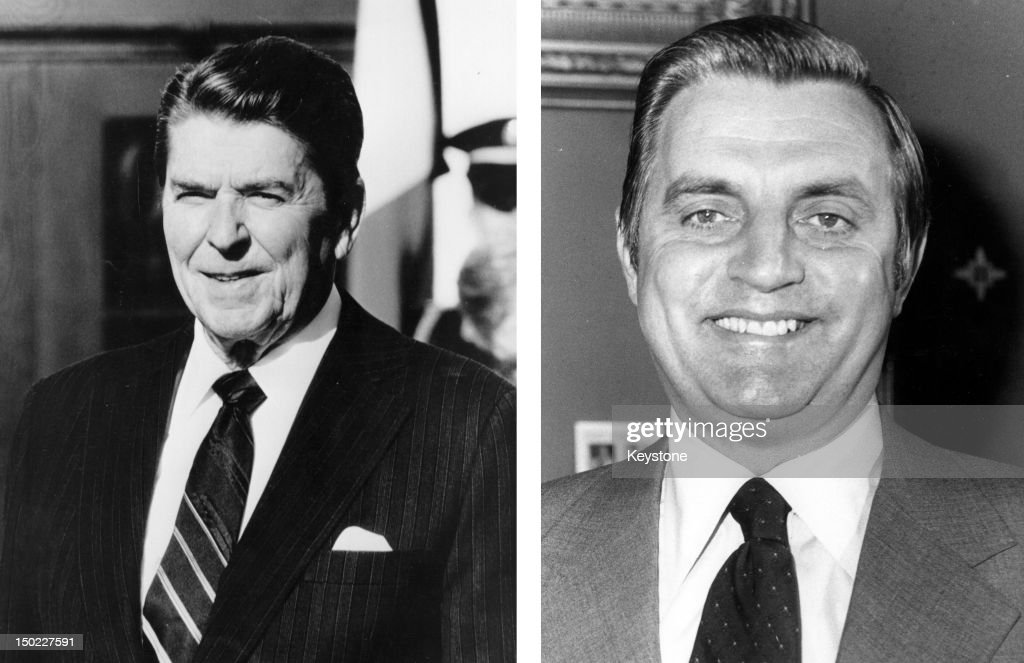 In this composite image a comparison has been made between former US Presidential Candidates <a gi-track='captionPersonalityLinkClicked' href=/galleries/search?phrase=Ronald+Reagan&family=editorial&specificpeople=69998 ng-click='$event.stopPropagation()'>Ronald Reagan</a> (L) and <a gi-track='captionPersonalityLinkClicked' href=/galleries/search?phrase=Walter+Mondale&family=editorial&specificpeople=94214 ng-click='$event.stopPropagation()'>Walter Mondale</a>. In 1984 <a gi-track='captionPersonalityLinkClicked' href=/galleries/search?phrase=Ronald+Reagan&family=editorial&specificpeople=69998 ng-click='$event.stopPropagation()'>Ronald Reagan</a> won the presidential election to become the President of the United States. 1977: <a gi-track='captionPersonalityLinkClicked' href=/galleries/search?phrase=Walter+Mondale&family=editorial&specificpeople=94214 ng-click='$event.stopPropagation()'>Walter Mondale</a> the American Democratic politician and former Vice President smiles on May 23, 1977.