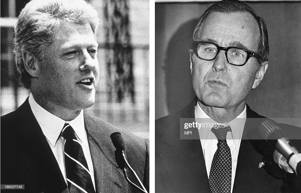 In this composite image a comparison has been made between former US Presidential Candidates George Bush (L) and <a gi-track='captionPersonalityLinkClicked' href=/galleries/search?phrase=Bill+Clinton&family=editorial&specificpeople=67203 ng-click='$event.stopPropagation()'>Bill Clinton</a>. In 1992 <a gi-track='captionPersonalityLinkClicked' href=/galleries/search?phrase=Bill+Clinton&family=editorial&specificpeople=67203 ng-click='$event.stopPropagation()'>Bill Clinton</a> won the presidential election to become the President of the United States. circa 1995: <a gi-track='captionPersonalityLinkClicked' href=/galleries/search?phrase=Bill+Clinton&family=editorial&specificpeople=67203 ng-click='$event.stopPropagation()'>Bill Clinton</a>, the 42nd president of the United States makes a public address in 1995.