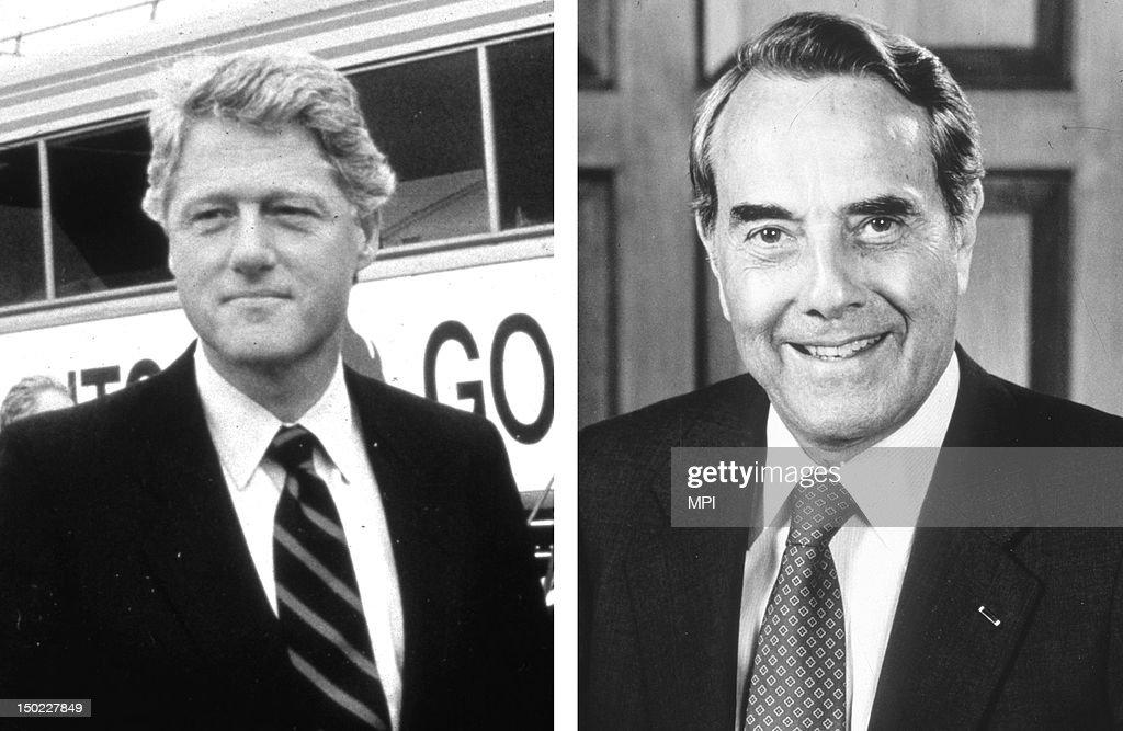 In this composite image a comparison has been made between former US Presidential Candidates <a gi-track='captionPersonalityLinkClicked' href=/galleries/search?phrase=Bill+Clinton&family=editorial&specificpeople=67203 ng-click='$event.stopPropagation()'>Bill Clinton</a> (L) and <a gi-track='captionPersonalityLinkClicked' href=/galleries/search?phrase=Bob+Dole&family=editorial&specificpeople=118596 ng-click='$event.stopPropagation()'>Bob Dole</a>. In 1996 <a gi-track='captionPersonalityLinkClicked' href=/galleries/search?phrase=Bill+Clinton&family=editorial&specificpeople=67203 ng-click='$event.stopPropagation()'>Bill Clinton</a> won the presidential election to become the President of the United States. circa 1985: American Republican politician Robert Dole in 1985.