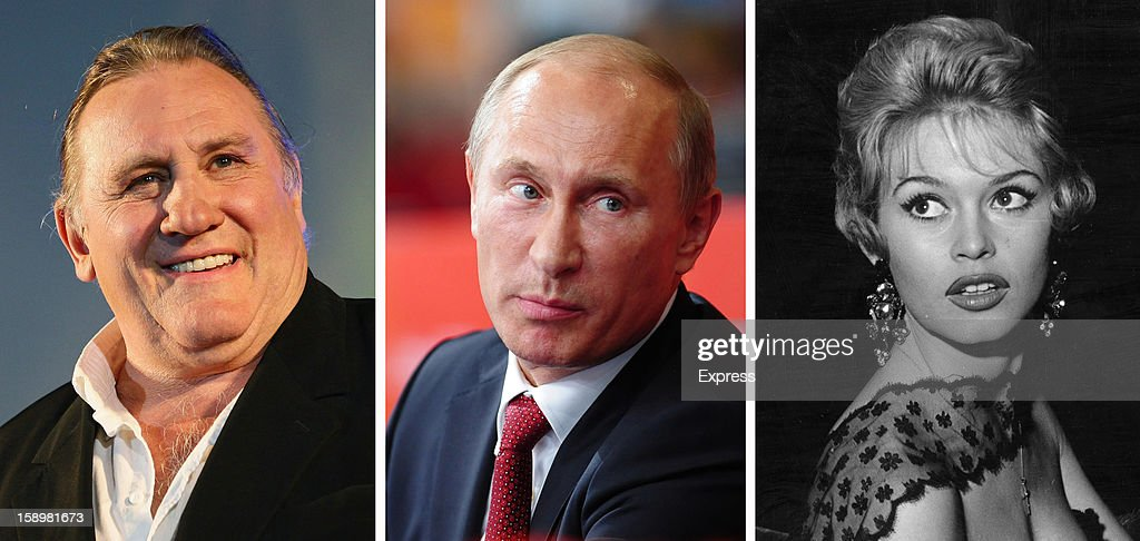 In this composite image a comparison has been made between (L-R) Gerard Depardieu, Vladimir Putin and Brigitte Bardot. French actors Gerard Depardieu and Brigitte Bardot are reportedly investigating Russian citizenship to avoid paying French taxes. 1958: French film star and sex-symbol Brigitte Bardot enjoys the London night life in 1958.