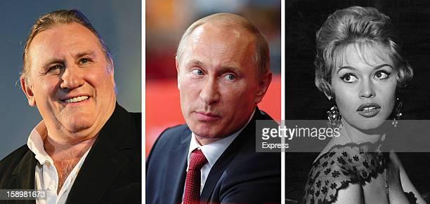 In this composite image a comparison has been made between Gerard Depardieu Vladimir Putin and Brigitte Bardot French actors Gerard Depardieu and...