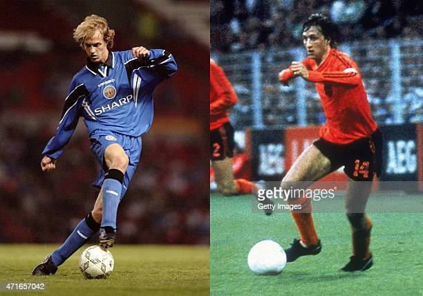 In this composite image a comparison has been made between images 1212245 and 1558657 of Father and Son Jordi Cruyff of Manchester United in action...