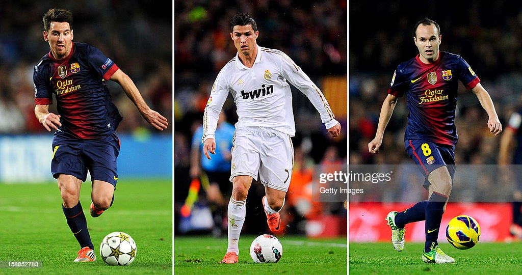 In this composite image a comparison has been made between Lionel Messi (L), Cristiano Ronaldo (C) and Andres Iniesta (R). All three players have been shortlisted for the FIFA Ballon d'Or 2012, the winner of the award will be revealed at the FIFA Ballon d'Or gala at the Zurich Kongresshaus on 7 January 2013. NOVEMBER 17: Andres Iniesta of FC Barcelona runs with the ball during the La Liga match between FC Barcelona and Real Zaragoza at Camp Nou on November 17, 2012 in Barcelona, Spain. FC Barcelona won 3-1.
