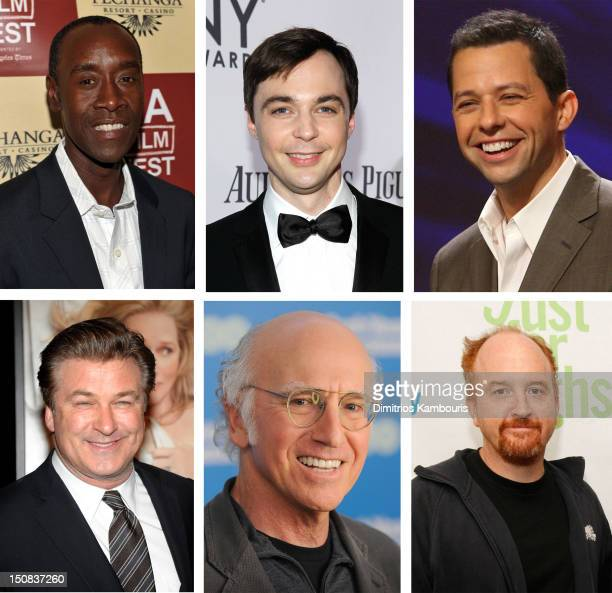 In this composite image a comparison has been made between the 2012 Emmy nominees for Outstanding Lead Actor In A Comedy Series Comic Louis CK and...