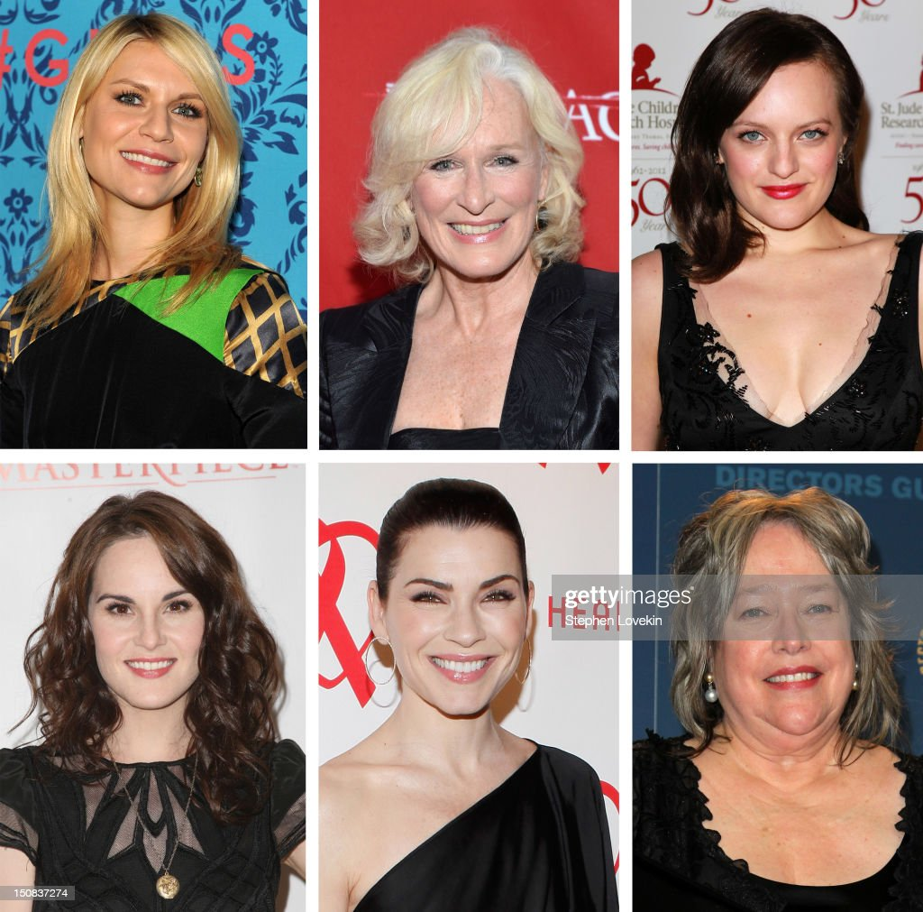 In this composite image a comparison has been made between the 2012 Emmy nominees for Outstanding Lead Actress In A Drama. Presenter <a gi-track='captionPersonalityLinkClicked' href=/galleries/search?phrase=Kathy+Bates+-+Actor&family=editorial&specificpeople=171565 ng-click='$event.stopPropagation()'>Kathy Bates</a>, accepting the Feature Film Nomination Plaque for 'Midnight In Paris' on behalf of Woody Allen,poses in the press room at the 64th Annual Directors Guild Of America Awards held at the Grand Ballroom at Hollywood & Highland on January 28, 2012 in Hollywood, California.
