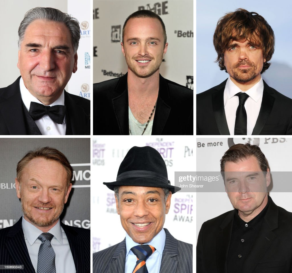 In this composite image a comparison has been made between the 2012 Emmy Nominees For Outstanding Supporting Actor In A Drama Series. Actor <a gi-track='captionPersonalityLinkClicked' href=/galleries/search?phrase=Brendan+Coyle&family=editorial&specificpeople=7509876 ng-click='$event.stopPropagation()'>Brendan Coyle</a> attends the Masterpiece Classic 'Downtown Abbey, Season 3' panel during day 1 of the PBS portion of the 2012 Summer TCA Tour held at the Beverly Hilton Hotel on July 23, 2012 in Beverly Hills, California.