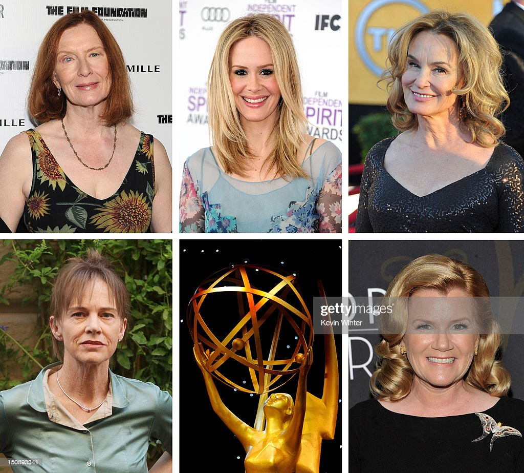 In this composite image a comparison has been made between the 2012 Emmy Nominees For Outstanding Supporting Actress In A Miniseries Or Movie. Actress <a gi-track='captionPersonalityLinkClicked' href=/galleries/search?phrase=Mare+Winningham&family=editorial&specificpeople=239133 ng-click='$event.stopPropagation()'>Mare Winningham</a> attends the 'Mildred Pierce' premiere at the Ziegfeld Theatre on March 21, 2011 in New York City.