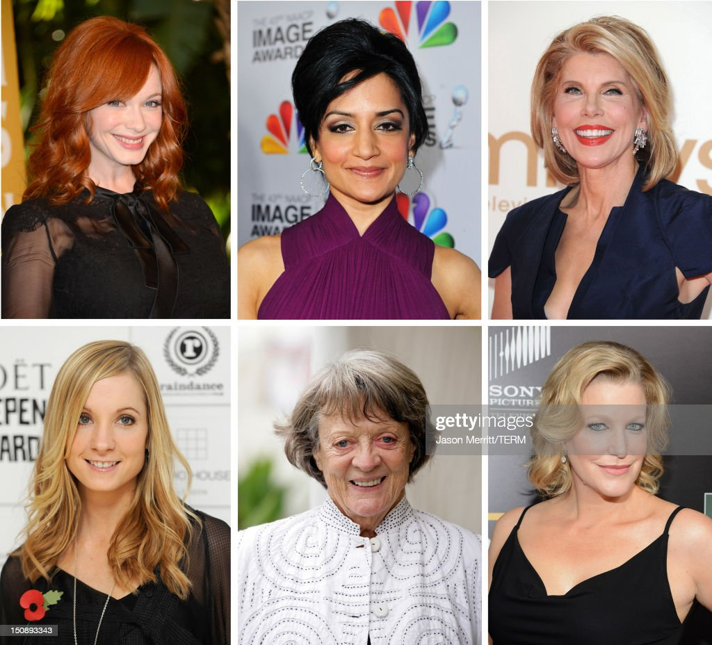 In this composite image a comparison has been made between the 2012 Emmy nominees for Outstanding Supporting Actress In A Drama Series. Actress <a gi-track='captionPersonalityLinkClicked' href=/galleries/search?phrase=Anna+Gunn&family=editorial&specificpeople=589359 ng-click='$event.stopPropagation()'>Anna Gunn</a> attends AMC's 'Breaking Bad' Season 5 Premiere during Comic-Con International 2012 at Reading Cinemas Gaslamp on July 14, 2012 in San Diego, California.