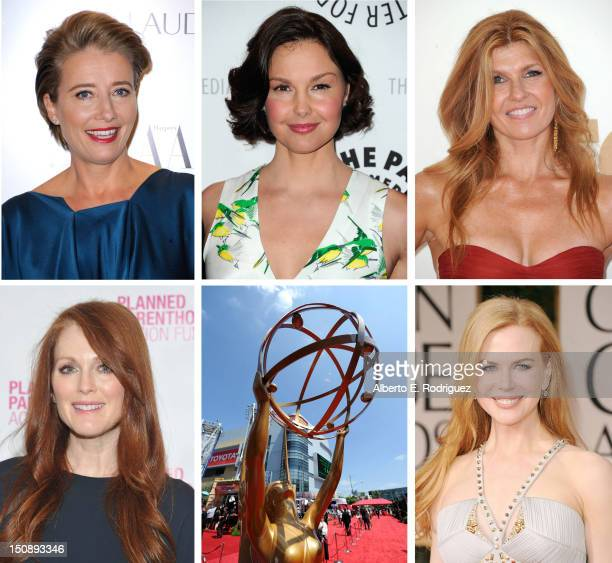 In this composite image a comparison has been made between the 2012 Emmy Nominees For Outstanding Lead Actress In A Miniseries Or Movie Actress...
