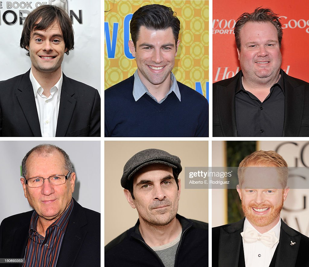 In this composite image a comparison has been made between the 2012 Emmy nominees for Outstanding Supporting Actor In A Comedy Series. Actor <a gi-track='captionPersonalityLinkClicked' href=/galleries/search?phrase=Jesse+Tyler+Ferguson&family=editorial&specificpeople=633114 ng-click='$event.stopPropagation()'>Jesse Tyler Ferguson</a> arrives at the 69th Annual Golden Globe Awards held at the Beverly Hilton Hotel on January 15, 2012 in Beverly Hills, California.