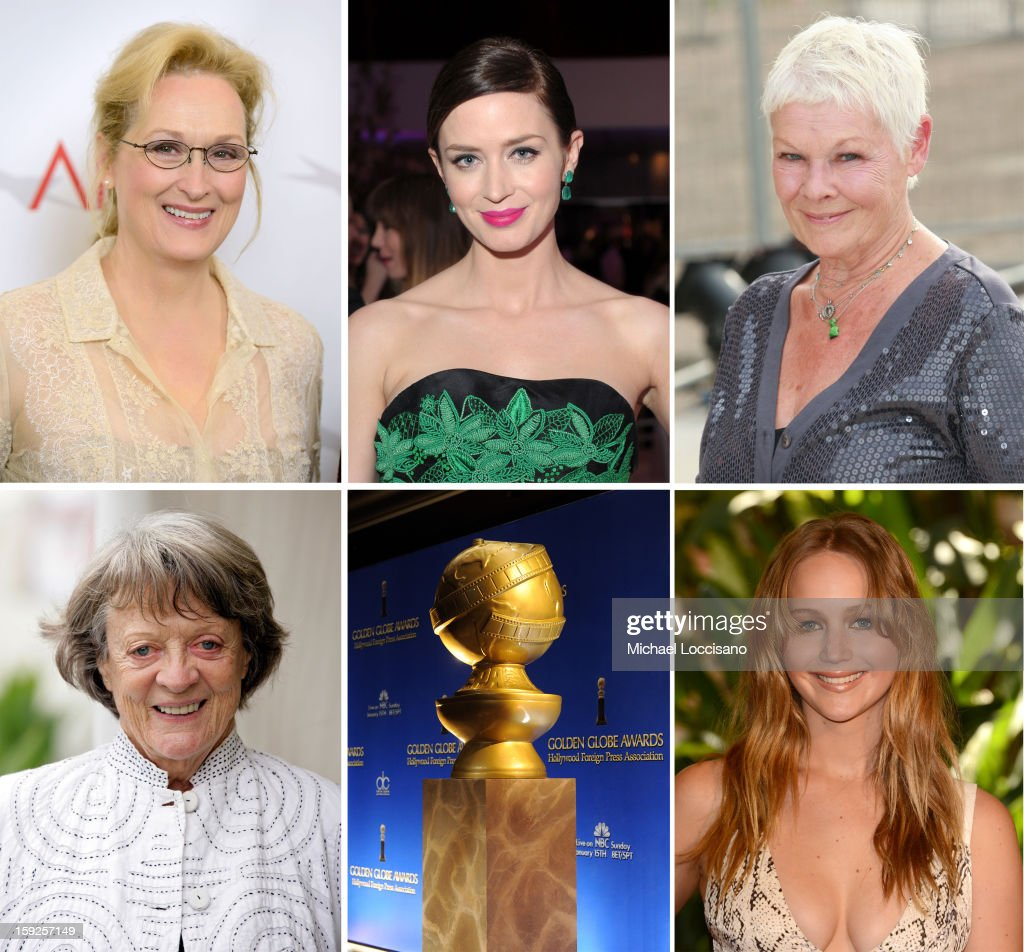 In this composite image a comparison has been made between the 2013 Golden Globe Award nominees for Best Performance by an Actress in a Motion Picture - Comedy or Musical. Actress <a gi-track='captionPersonalityLinkClicked' href=/galleries/search?phrase=Jennifer+Lawrence&family=editorial&specificpeople=1596040 ng-click='$event.stopPropagation()'>Jennifer Lawrence</a> arrives at the Hollywood Foreign Press Association's 2012 Installation Luncheon held at the Beverly Hills Hotel on August 9, 2012 in Beverly Hills, California.