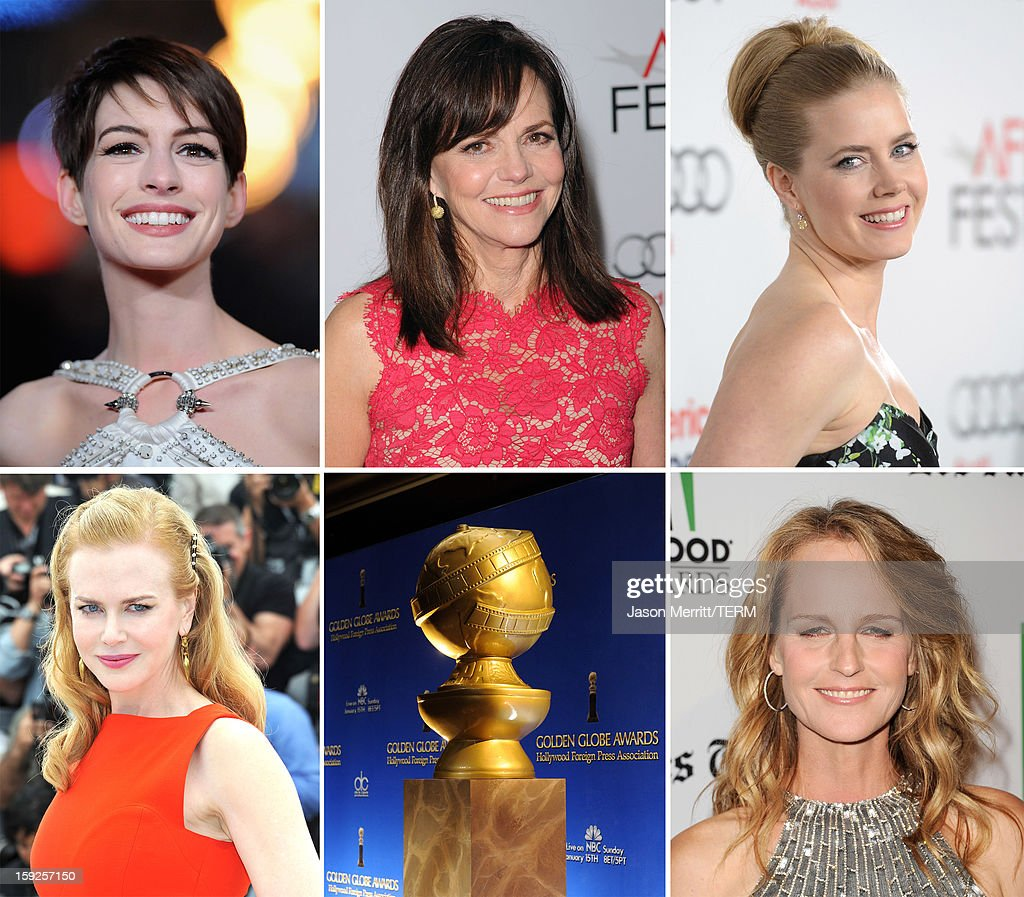 In this composite image a comparison has been made between the 2013 Golden Globe Award nominees for Best Performance by an Actress in a Supporting Role in a Motion Picture. Actress <a gi-track='captionPersonalityLinkClicked' href=/galleries/search?phrase=Helen+Hunt&family=editorial&specificpeople=203193 ng-click='$event.stopPropagation()'>Helen Hunt</a> arrives at the 16th Annual Hollywood Film Awards Gala presented by The Los Angeles Times held at The Beverly Hilton Hotel on October 22, 2012 in Beverly Hills, California.