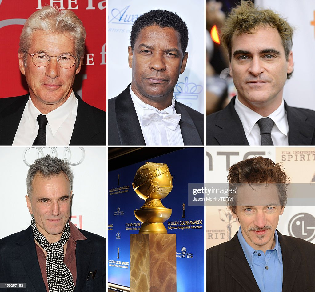 In this composite image a comparison has been made between the 2013 Golden Globe Award nominees for Best Performance By An Actor In A Motion Picture - Drama. Actor <a gi-track='captionPersonalityLinkClicked' href=/galleries/search?phrase=John+Hawkes+-+Acteur&family=editorial&specificpeople=224944 ng-click='$event.stopPropagation()'>John Hawkes</a> arrives at the 2011 Film Independent Spirit Awards at Santa Monica Beach on February 26, 2011 in Santa Monica, California.