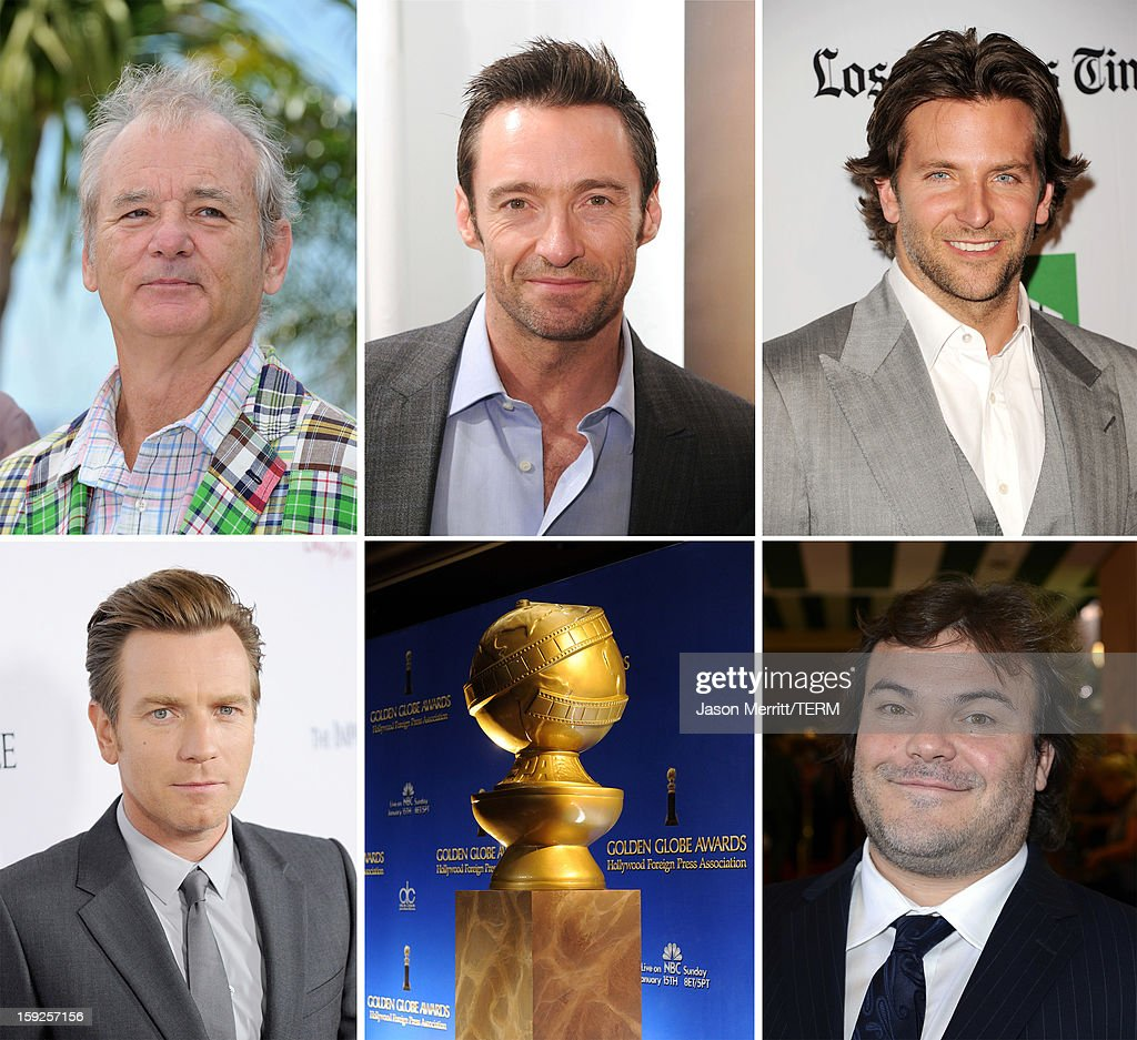 In this composite image a comparison has been made between the 2013 Golden Globe Award nominees for Best Performance By An Actor In A Motion Picture - Comedy Or Musical. Actor <a gi-track='captionPersonalityLinkClicked' href=/galleries/search?phrase=Jack+Black&family=editorial&specificpeople=171453 ng-click='$event.stopPropagation()'>Jack Black</a> arrives at the Hollywood Foreign Press Association's 2012 Installation Luncheon held at the Beverly Hills Hotel on August 9, 2012 in Beverly Hills, California.