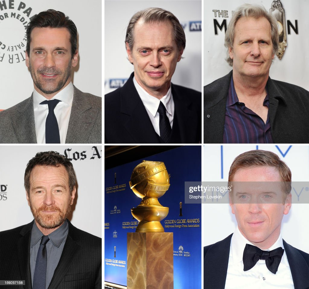 In this composite image a comparison has been made between the 2013 Golden Globe Award nominees for Best Performance by an Actor in a Television Series - Drama. Actor <a gi-track='captionPersonalityLinkClicked' href=/galleries/search?phrase=Damian+Lewis&family=editorial&specificpeople=206939 ng-click='$event.stopPropagation()'>Damian Lewis</a> arrives at the 64th Annual Primetime Emmy Awards at Nokia Theatre L.A. Live on September 23, 2012 in Los Angeles, California.