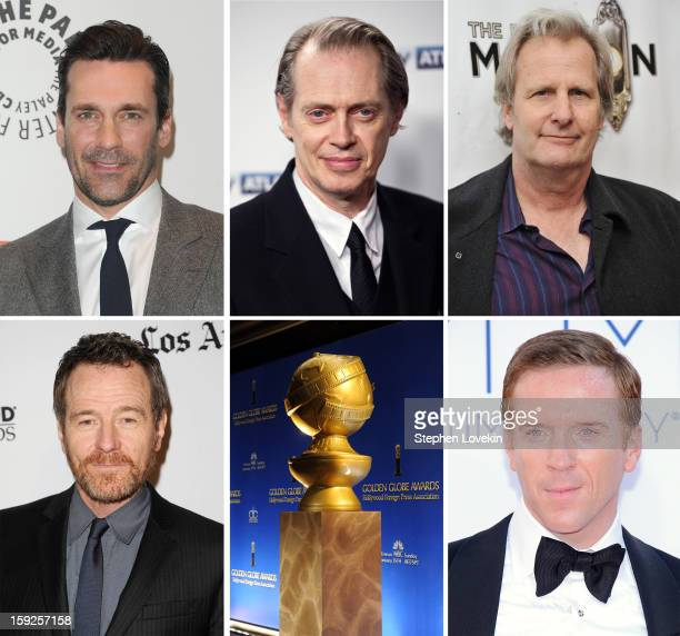 In this composite image a comparison has been made between the 2013 Golden Globe Award nominees for Best Performance by an Actor in a Television...