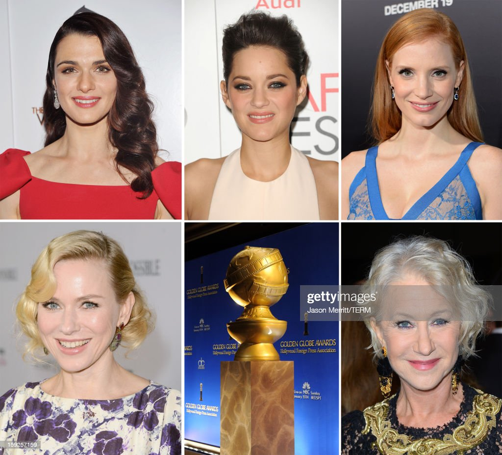 In this composite image a comparison has been made between the 2013 Golden Globe Award nominees for Best Performance by an Actress in a Motion Picture - Drama. Dame <a gi-track='captionPersonalityLinkClicked' href=/galleries/search?phrase=Helen+Mirren&family=editorial&specificpeople=201576 ng-click='$event.stopPropagation()'>Helen Mirren</a> arrives at the premiere of Fox Searchlight Pictures' 'Hitchcock' at the Academy of Motion Picture Arts and Sciences Samuel Goldwyn Theater on November 20, 2012 in Beverly Hills, California.