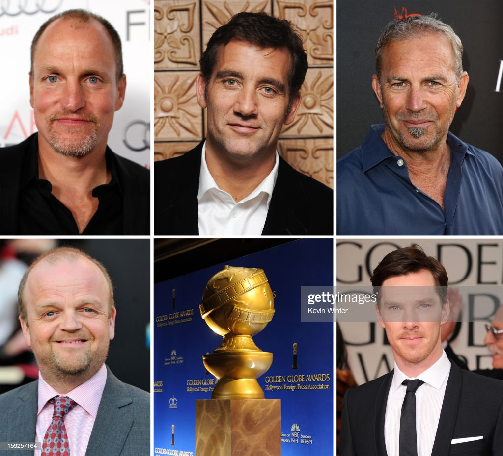 In this composite image a comparison has been made between the 2013 Golden Globe Award nominees for Best Performance By An Actor In A Mini-Series Or Motion Picture Made For Television. Actor Benedict Cumberbatch arrives at the 69th Annual Golden Globe Awards held at the Beverly Hilton Hotel on January 15, 2012 in Beverly Hills, California.