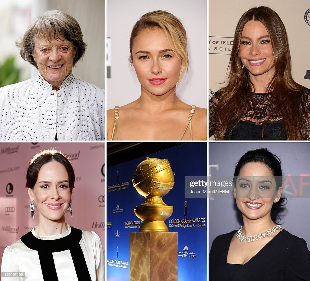 In this composite image a comparison has been made between the 2013 Golden Globe Award nominees for Best Performance by an Actress in a Supporting Role in a Series, Mini-Series or Motion Picture Made for Television. Archie Panjabi attends 'The Hobbit: An Unexpected Journey' New York Premiere Benefiting AFI - Red Carpet And Introduction at Ziegfeld Theater on December 6, 2012 in New York City.