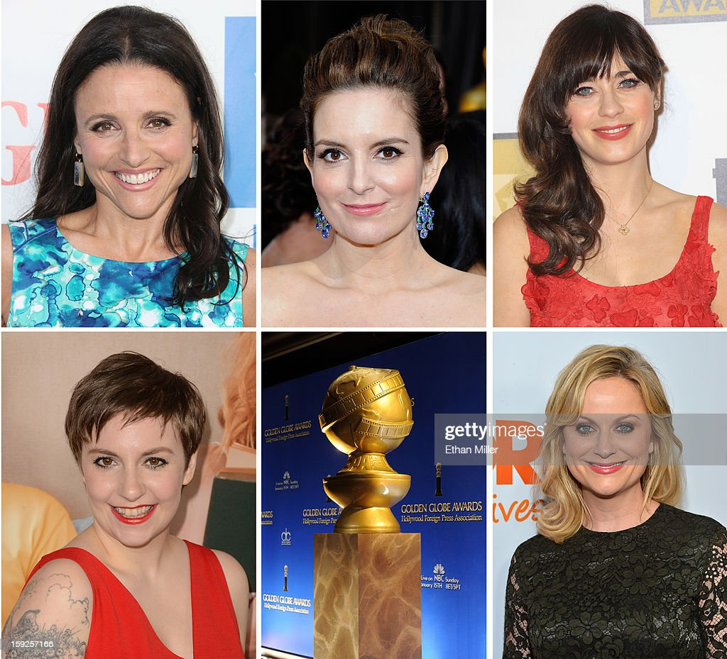 In this composite image a comparison has been made between the 2013 Golden Globe Award nominees for Best Performance by an Actress in a Television Series - Comedy or Musical. Actress <a gi-track='captionPersonalityLinkClicked' href=/galleries/search?phrase=Amy+Poehler&family=editorial&specificpeople=228430 ng-click='$event.stopPropagation()'>Amy Poehler</a> arrives at 'Trevor Live' honoring Katy Perry and Audi of America for The Trevor Project held at The Hollywood Palladium on December 2, 2012 in Los Angeles, California.