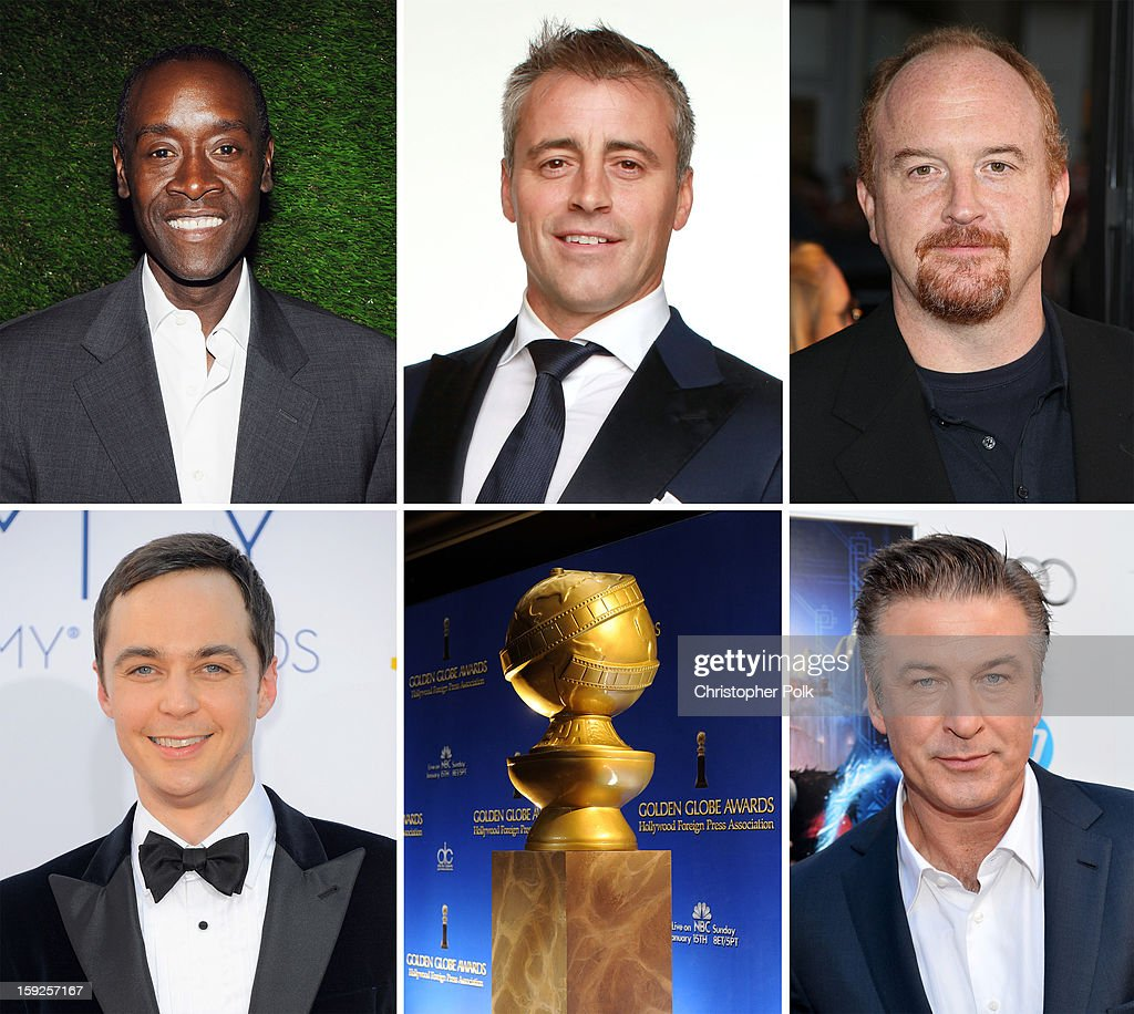 In this composite image a comparison has been made between the 2013 Golden Globe Award nominees for Best Performance by an Actor in a Television Series - Comedy or Musical. Actor <a gi-track='captionPersonalityLinkClicked' href=/galleries/search?phrase=Alec+Baldwin&family=editorial&specificpeople=202864 ng-click='$event.stopPropagation()'>Alec Baldwin</a> arrives at the premiere of 'Rise of the Guardians' during the 2012 AFI Fest presented by Audi at Grauman's Chinese Theatre on November 4, 2012 in Hollywood, California.