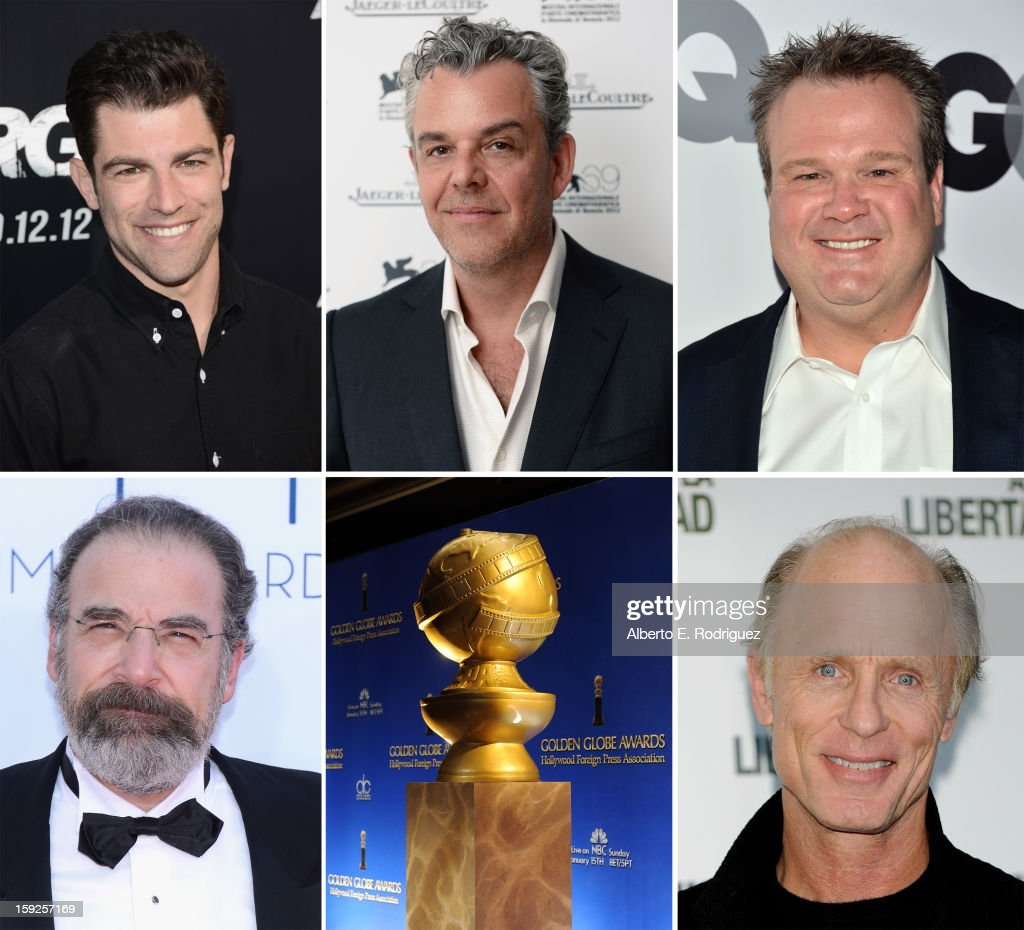 In this composite image a comparison has been made between the 2013 Golden Globe Award nominees for Best Performance by an Actor in a Supporting Role in a Series, Mini-Series or Motion Picture Made for Television. Actor <a gi-track='captionPersonalityLinkClicked' href=/galleries/search?phrase=Ed+Harris&family=editorial&specificpeople=215262 ng-click='$event.stopPropagation()'>Ed Harris</a> attends 'The Way Back' photocall at Eurostar Hotel on December 10, 2010 in Madrid, Spain.
