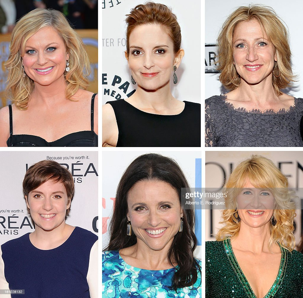 In this composite image a comparison has been made between the 2013 Emmy Nominees For Outstanding Lead Actress In A Comedy Series. Actress <a gi-track='captionPersonalityLinkClicked' href=/galleries/search?phrase=Laura+Dern&family=editorial&specificpeople=204203 ng-click='$event.stopPropagation()'>Laura Dern</a> arrives at the 69th Annual Golden Globe Awards held at the Beverly Hilton Hotel on January 15, 2012 in Beverly Hills, California.