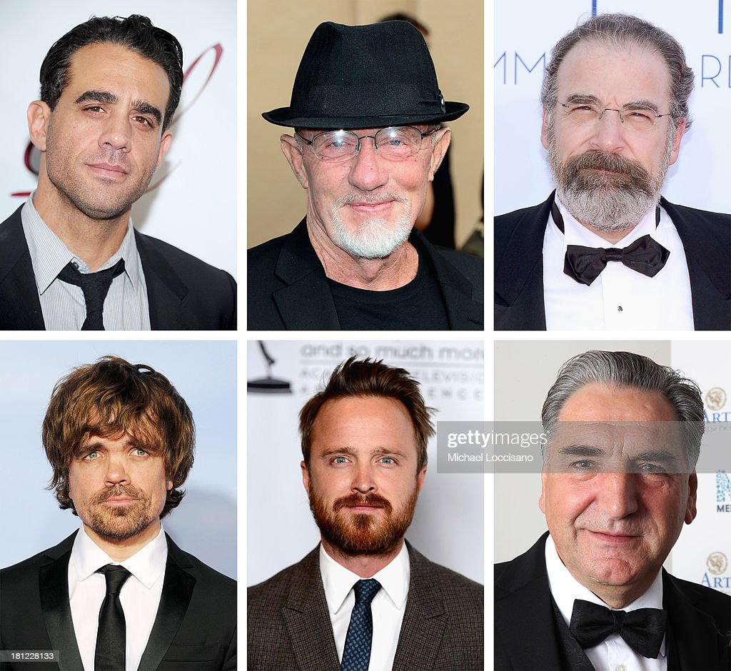 In this composite image a comparison has been made between the 2013 Emmy Nominees For Outstanding Supporting Actor In A Drama Series. Jim Carter attends an Evening With Downton Abbey - Raising Money For Merlin - The Medical Relief Charity at The Savoy Hotel on July 14, 2011 in London, United Kingdom.